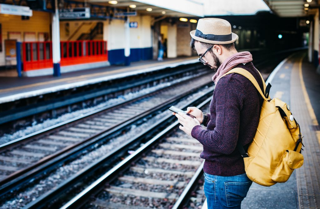 Using a smartphone while travelling on rail network