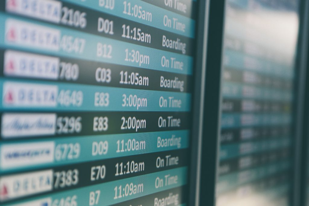 Airport departure board populated using aviation big data