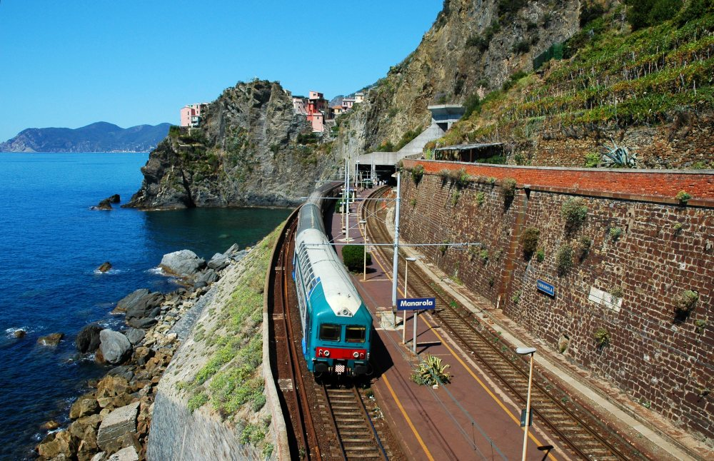 Train passing by sea during a rail holiday in Europe