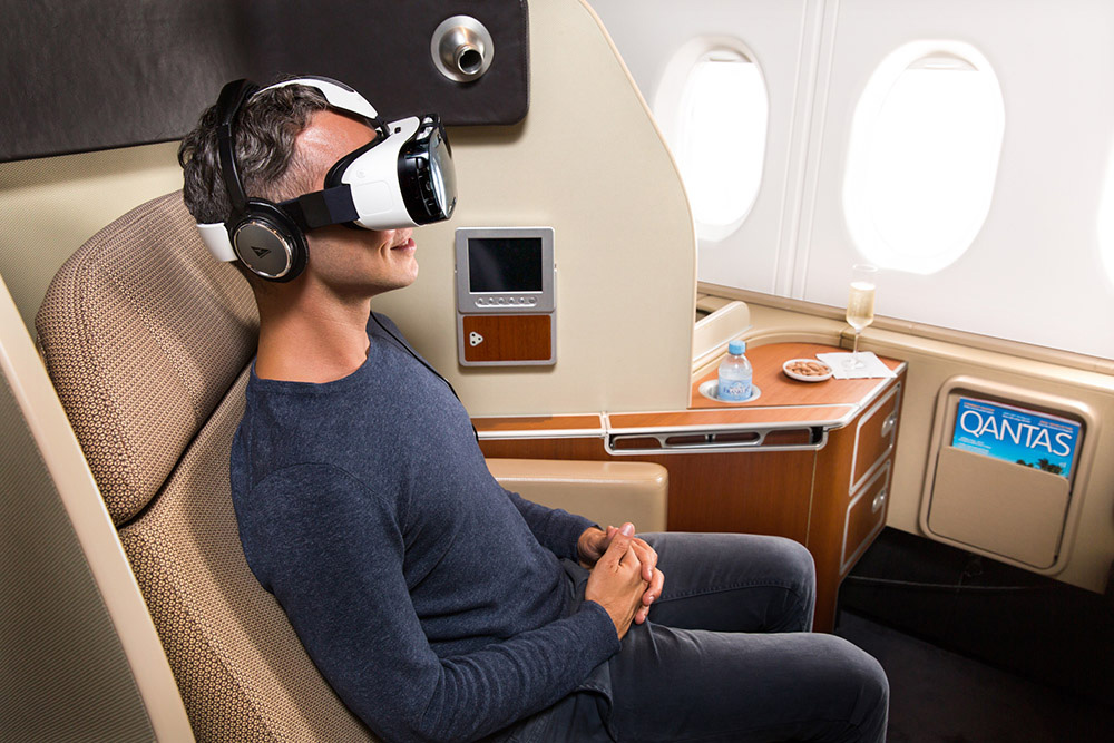 Man using VR on Qantas flight as entertainment