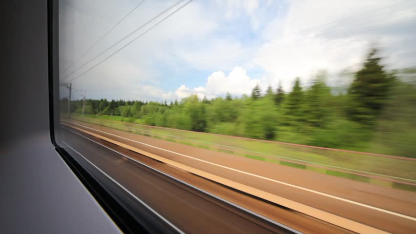 Using in-journey wifi as transport tech while looking out of a train window