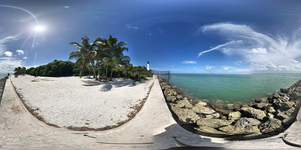 Virtual reality shot of a beach