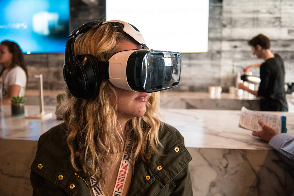 Woman using virtual reality headset for travel tourism