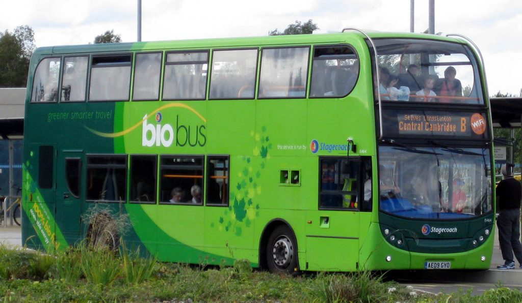 Public transport with green features on a coach hire service