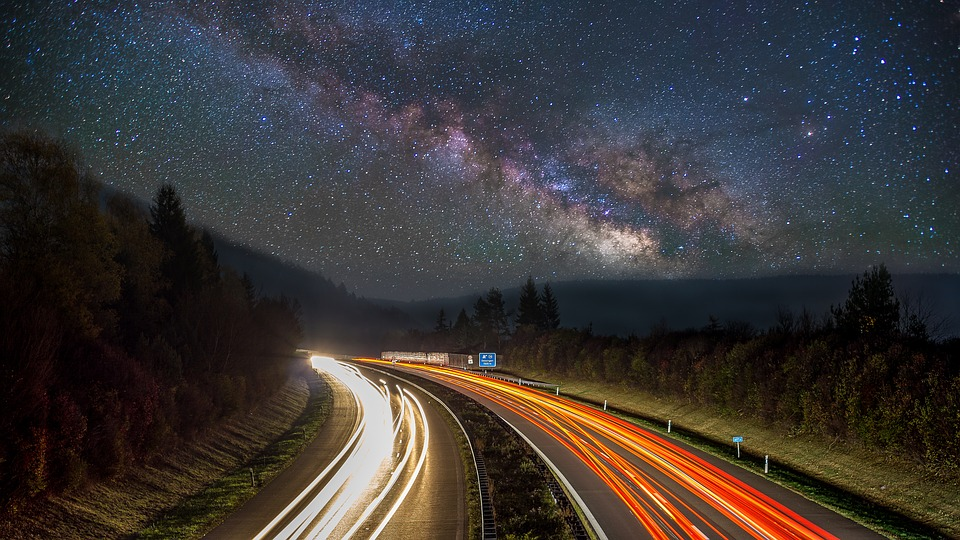 Smart road technology on long exposure shot highway