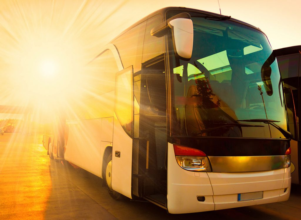 Bus coach with onboard passenger WiFi