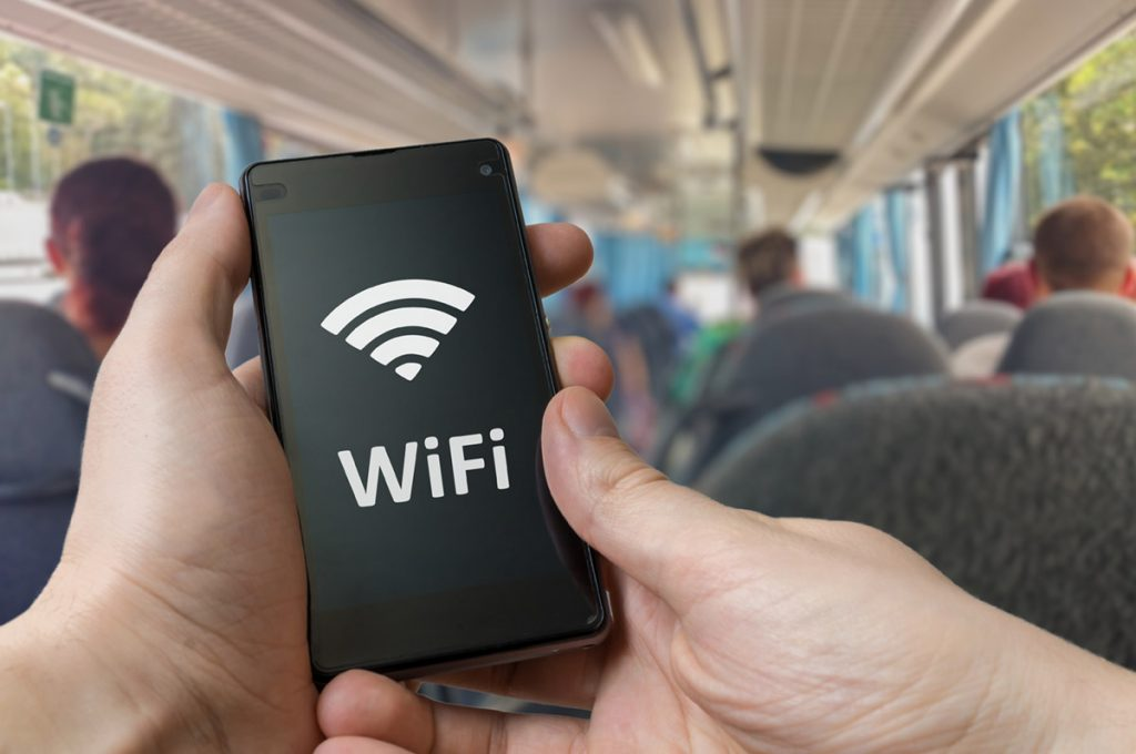 Using secure passenger WiFi on a bus through smartphone